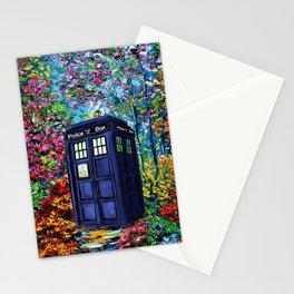 Tardis Flowers Painting Stationery Cards
