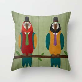 Suited parrots Throw Pillow