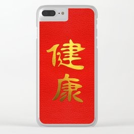 Golden Health Feng Shui Symbol on Faux Leather Clear iPhone Case