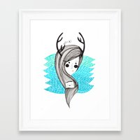 antlers Framed Art Prints featuring antlers by Olga M.