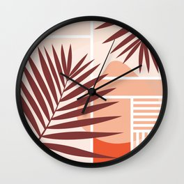 Sunset in Miami / Earth-tones abstraction Wall Clock