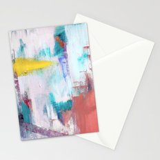 Colfax: an interesting, vibrant, abstract mixed media piece in a variety of colors Stationery Cards