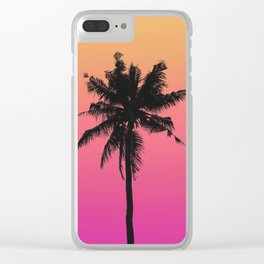 Sunset Gradient Palm Clear iPhone Case