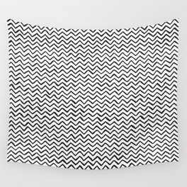 Black & White Hand-drawn ZigZag Pattern Wall Tapestry