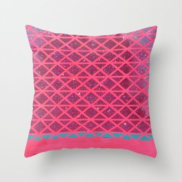 Pink with Pink Glitter Fade + Turquoise  Throw Pillow