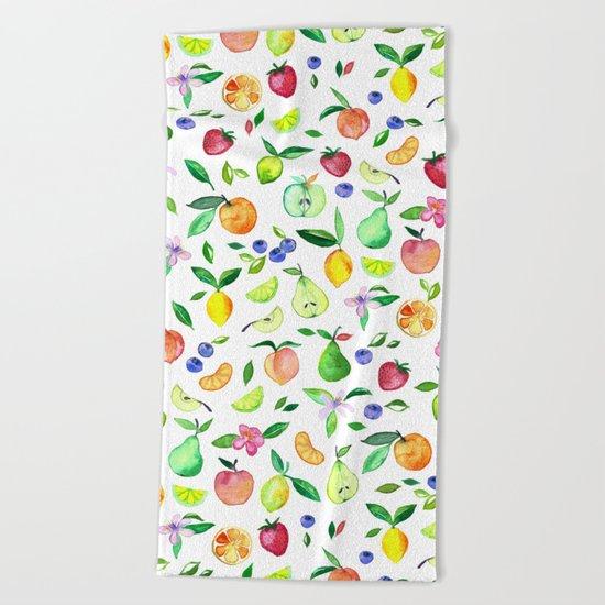 Fresh Fruit - a watercolor pattern Beach Towel