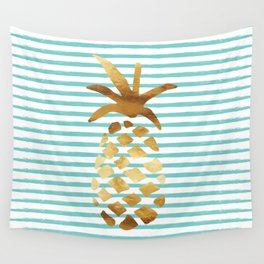 Pineapple & Stripes - Mint/White/Gold Wall Tapestry