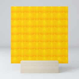 Mother of pearl pattern of yellow hearts and stripes on a gold background. Mini Art Print