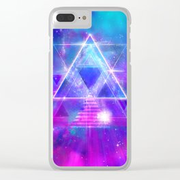 Space Vector 3 - Synth Galactic Vaporwave Clear iPhone Case