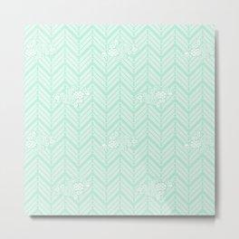Pastel Mint Chevron Floral Metal Print