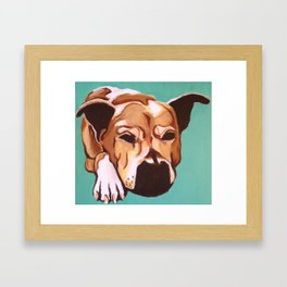 Painting of pet/dog Labrador Mix on Teal Framed Art Print