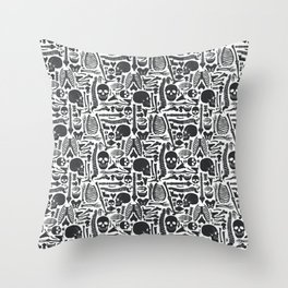 Human Skeleton Goth Pattern  Throw Pillow