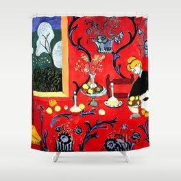 Henri Matisse, The Dessert, Harmony in Red, 1908 Artwork for Wall Art, Prints, Posters, Tshirts, Men, Women, Kids Shower Curtain