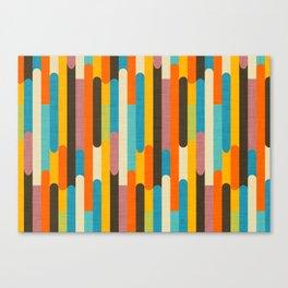 Retro Color Block Popsicle Sticks Orange Canvas Print