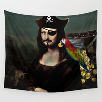 mona lisa Wall Tapestries featuring  Mona Lisa Pirate Captain by Gravityx9