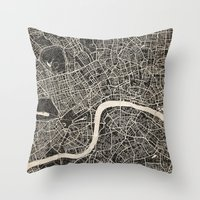 london map Throw Pillows featuring London map by NJ-Illustrations