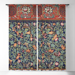 Asian Floral & Butterfly Pattern in Navy Blue Antique Illustration Blackout Curtain