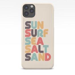 Sun Surf Sea Salt Sand Typography - Retro Rainbow iPhone Case