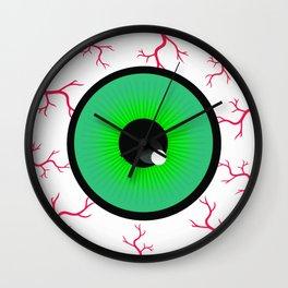 Green Spooky Eyeball With Blood Vessels Wall Clock