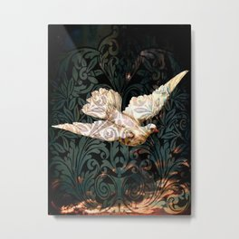 White Dove In Flames Metal Print