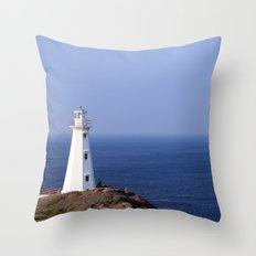 Blue Sky Lighthouse Throw Pillow