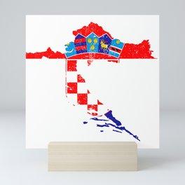Distressed Croatia Map Mini Art Print