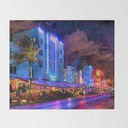 South Beach Miami City Lights by Jeanpaul Ferro Throw Blanket