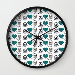 Peace Love & Cats Wall Clock