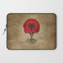 Vintage Tree of Life with Flag of Albania Laptop Sleeve
