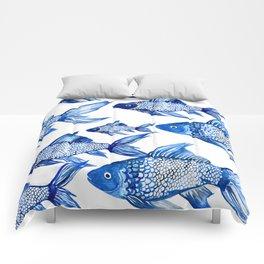 BLUE SCHOOL OF FISH Comforters