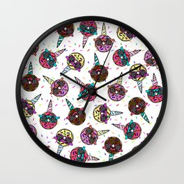 Funny Cute Colorful Unicorn Donut with Sunglasses Wall Clock