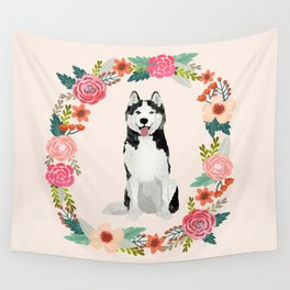 husky floral wreath spring dog breed pet portrait gifts Wall Tapestry