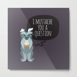 Schnauzer mustache you a question Metal Print