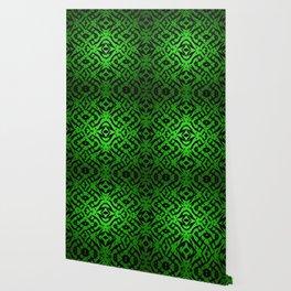 Green tribal shapes pattern Wallpaper