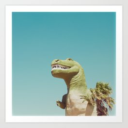 Dinosaur, T-rex, Animals, Cute, Kids, Children, Teal, Palm Springs Art Print
