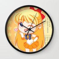 sailor venus Wall Clocks featuring Sailor Venus by strawberryquiche