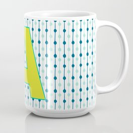 Letter A Monogram Blue, Green and Yellow with Pattern Coffee Mug