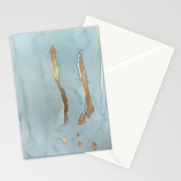 Hand painted teal watercolor chic gold brushstrokes Stationery Cards
