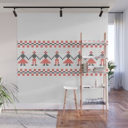 Traditional Hora people cross-stitch row white Wall Mural
