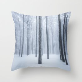 Foggy frozen winter forest Throw Pillow