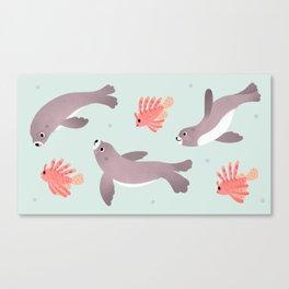 Sea lion & Lionfish Canvas Print