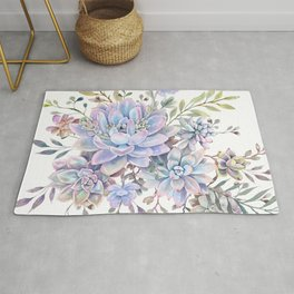 succulent watercolor 7 Rug