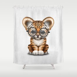 Cute Baby Tiger Cub Wearing Eye Glasses on White Shower Curtain