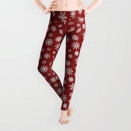 Snowflakes in Red Leggings