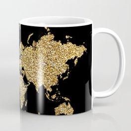 world map gold black wanderlust Coffee Mug