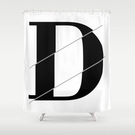 """Sliced Collection"" - Minimal Letter D Print Shower Curtain"