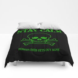 Stay Calm Pirate Flag Comforters