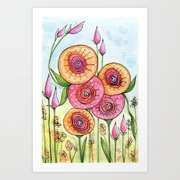 Whimsical Flower Garden Art Print