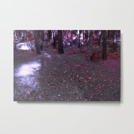 Alien planet purple forest in the night bright lights Metal Print
