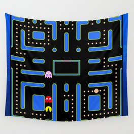 pac-man blue Wall Tapestry